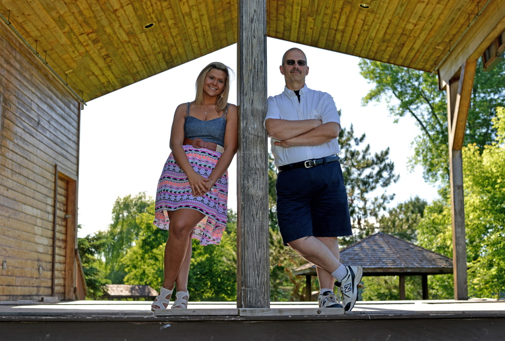 Andrew Bourassa and his daughter, Amber, on Wednesday are seen at Fort Halifax Park in Winslow. Bourassa recently underwent gastric bypass surgery and will be participating in the Trek Across Maine.