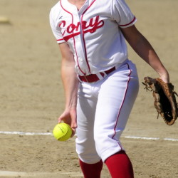 Cony senior pitcher Arika Brochu delivers a pitch during a game last week at Cony. Brochu was named a Miss Maine Softball finalist.