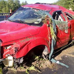 A 2004 Dodge Durango crashed Saturday morning off Route 202 in Monmouth.