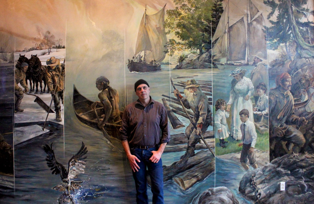 "Contributed photo Hallowell artist Christopher Cart will give a presentation at 6:30 p.m. Thursday, June 25, at Hallowell City Hall Auditorium about the process of creating his large scale mural ""Kennebec"" at the Kennebec County Superior Courthouse in Augusta."
