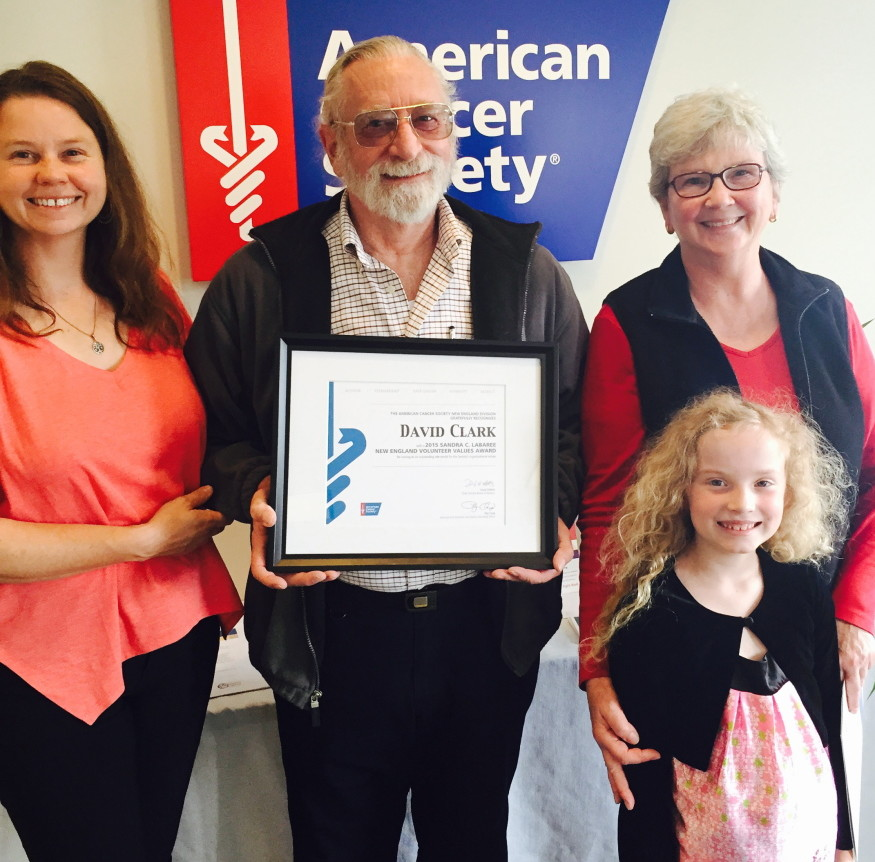 David Clark, of Gardiner, recently was presented the Sandra C. Labaree Award by the New England Division of American Cancer Society at a recent meeting of the American Cancer Society office in Topsham.
