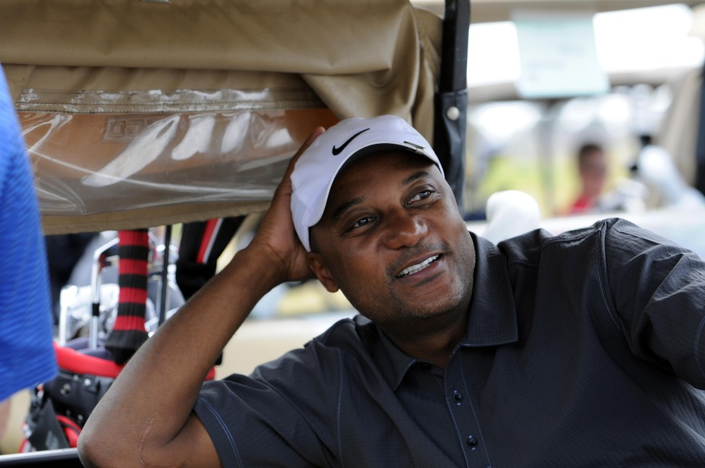 The Associated Press In this Nov. 11, 2011, file photo, former professional baseball player Darryl Hamilton sits in a golf cart at the Urban Youth Academy Celebrity Golf Classic.