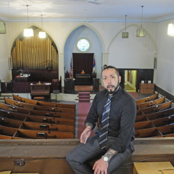David Boucher talks about his plans to use a former church as a tasting room for Lost Orchard Brewery during a tour on April 30 in Gardiner.