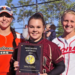 Bailey Tremblay of Thornton Academy, center, is Miss Maine Softball. Gardiner's Kristal Smith, left, and Cony's Arika Brochu were other finalists when the award was announced Thursday at Cony Family Field in Augusta.