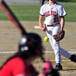 Hall-Dale pitcher Olivia Mynard throws to plate during the Class C/D senior all start game on Thursday June 25, 2015 at Cony Family Field in Augusta.