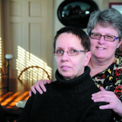 Brenda Adler, left, and Melody Main, shown here in a file photo, were married a year ago in Maine following the 2012 passage of a law allowing same-sex couples to marry. On Friday, the Supreme Court struck down state bans on same-sex marriage, opening the door for gay couples in all states to marry.