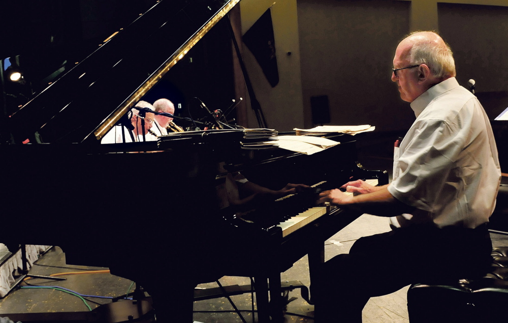 Longtime musician and educator Gerry Wright played piano with the Al Corey Big Band in a concert to honor Wright on Sunday in Oakland.