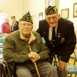 The Goodrich-Caldwell Legion Post 6 in Hallowell recently had the honor to present 95-year-old Kenneth H. Ramage, left, 70 year membership in the American Legion award. Presenting the award to Ramage, a World War II veteran, was Post Commander, Gerald Stuart, and Maine District Commander, Donald Chase. Ramage was also presented with the Eagle Cane by Bert Truman, right, and a vial of sand from Normandy's Omaha Beach.