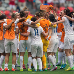 AP photo   England players celebrate their 2-1 win over Canada following a Women's World Cup quarterfinal game in Vancouver, British Columbia, Canada, on Saturday.