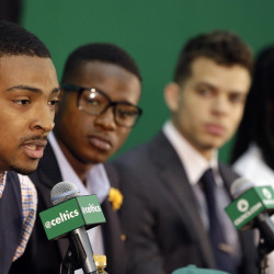 AP photo   Boston Celtics draft pick Jordan Mickey, left, responds to a question as draft picks Terry Rozier, second from left, R.J. Hunter and Marcus Thornton look on during a media introduction Tuesday at the Celtics training facility in Waltham, Mass.
