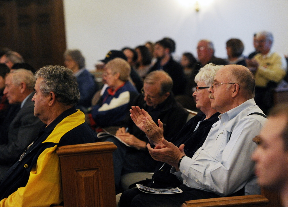LISBON, ME - JUNE 2: Attendees clap as Gov. Paul LePage speaks at a town hall tax forum at Open Door Bible Baptist Church in Lisbon Tuesday, June 2, 2015. (Photo by Shawn Patrick Ouellette/Staff Photographer)