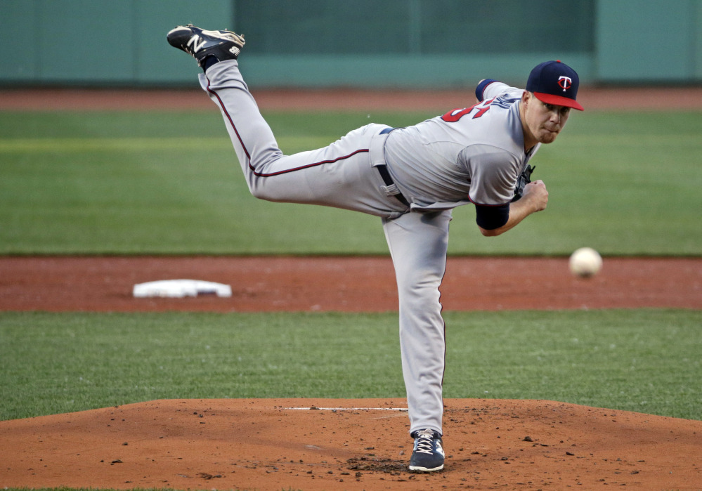 Minnesota Twins starting pitcher Trevor May allowed just two hits in seven innings Wednesday night to beat the punchless Red Sox, 2-0.