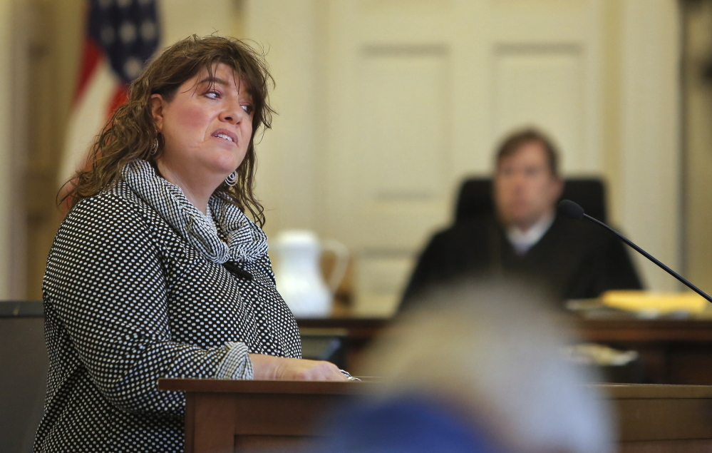 """Amy Fairfield, Derek Poulin's attorney, tells the jury Thursday that police who investigated Patricia Noel's death conducted a """"sloppy and compromised investigation"""" and """"looked at only one suspect."""""""