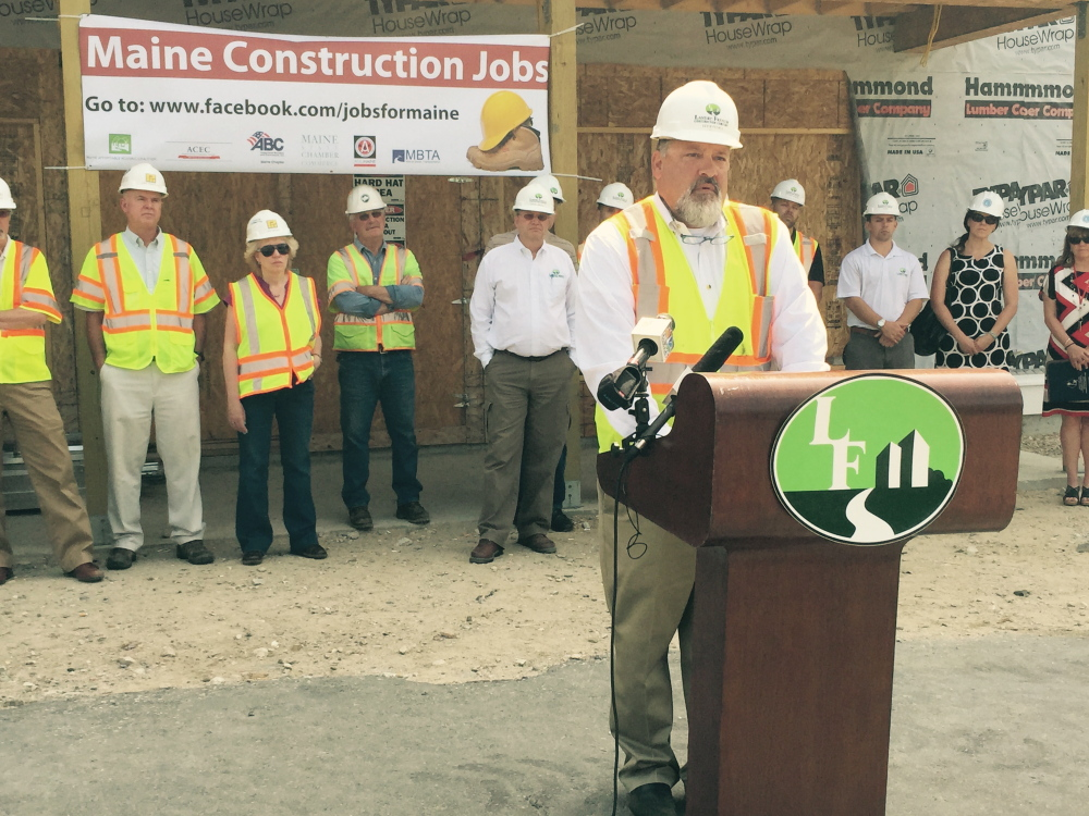 Kevin French, owner of Scarborough-based Landry/French Construction, speaks in favor of three construction-related bills before the Maine Legislature at a news conference organized by industry leaders Thursday in South Portland.