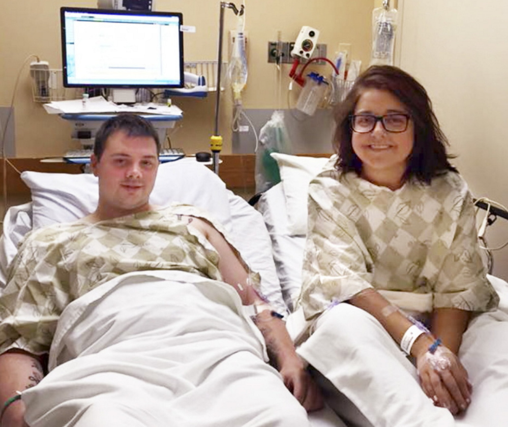Kidney donor Josh Dall-Leighton of Windham and recipient Christine Royles of South Portland await surgery Tuesday at Maine Medical Center.
