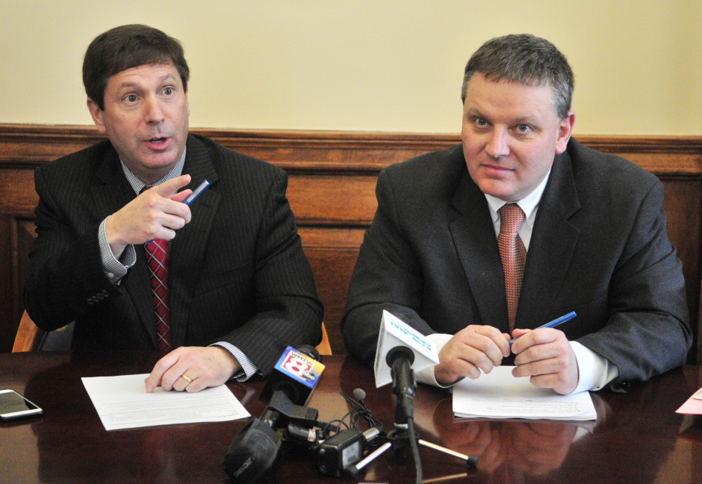 Joe Phelan/Kennebec Journal House Republican Leader Ken Fredette, R-Newport, left, and Senate President Mike Thibodeau, R-Winterport, speak about the new Democratic budget plan during a news conference on April 9 at the State House in Augusta.