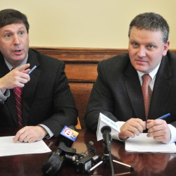 AUGUSTA, ME - APR. 9: House Republican Leader Ken Fredette, R-Newport, left, and Senate President Mike Thibodeau, R-Winterport, speak about the new Democratic budget plan during a news conference on Thursday April 9, 2015 at the State House in Augusta. (Photo by Joe Phelan/Staff Photographer)