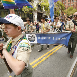 Gabriel Anderson, 11, marches with Scouts for Equality during the San Francisco Gay Pride parade Sunday in San Francisco.