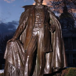 A statue of the nation's 14th president, Franklin Pierce, sits on the Statehouse green in Concord, N.H. Pierce was elected before the state began holding the nation's earliest presidential primary, in 1920, and no one from New Hampshire has been elected president since then.