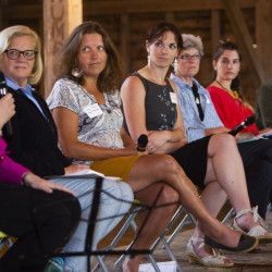 Rep. Chellie Pingree, second from left, moderator of a panel discussion about women in agriculture, and five Maine farmers listen to USDA Deputy Secretary Krysta Harden, left, at Wolfe's Neck Farm in Freeport on Monday. Panelists to the right of Pingree are Laura Neale, Alice Percy, Jean Koons, Gina Simmons and Marada Cook.