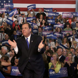 New Jersey Gov. Chris Christie greets supporters during an event announcing he will seek the Republican nomination for president on Tuesday at Livingston High School in Livingston, N.J.