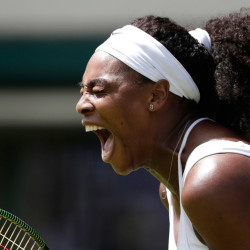 Serena Williams celebrates a point during the women's singles first round match against Margarita Gasparyan of Russia in Wimbledon, London, on Monday. On Tuesday, Serena and her sister, Venus, pulled out of the doubles match.