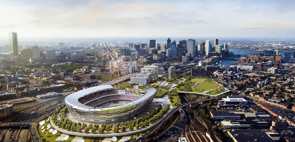 This architect's rendering released by the Boston 2024 planning committee shows an Olympic stadium that is proposed to be built in Boston if the city is awarded the Summer Olympic games in 2024.