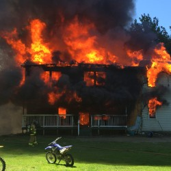 A house on Weeks Mills Road in South China is destroyed by fire Wednesday.