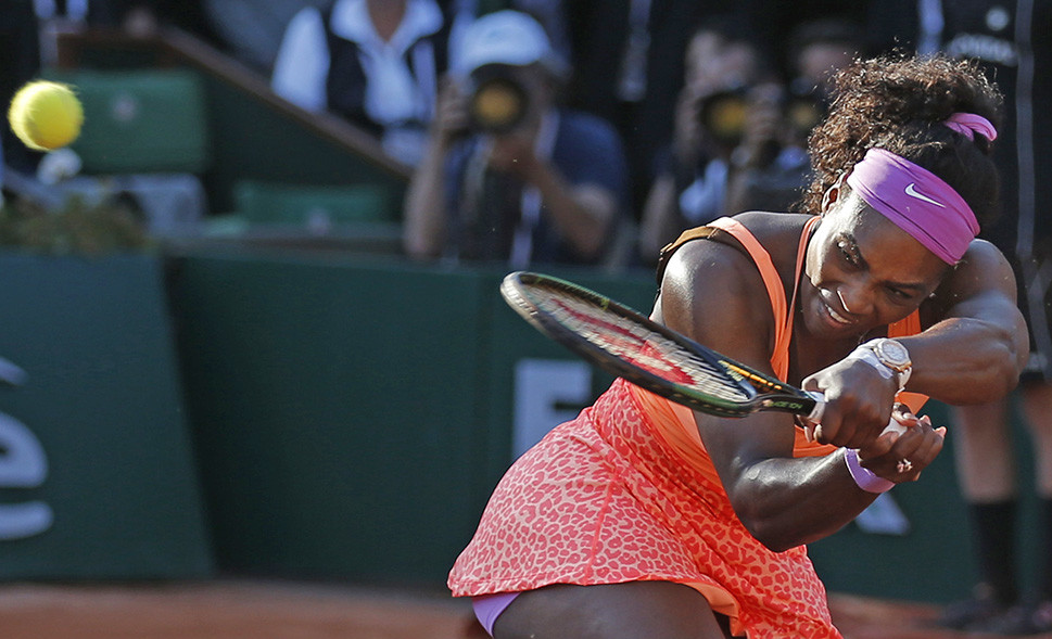 Serena Williams plays the match ball to win her semifinal match of the French Open tennis tournament against Timea Bacsinszky of Switzerland in three sets 4-6, 6-3, 6-0 Thursday. The Associated Press