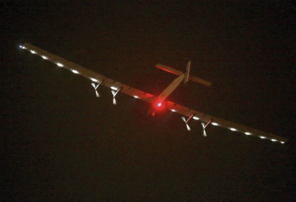 The Solar Impulse 2 takes off from Nanjing Lukou International Airport in Nanjing in eastern China's Jiangsu province Sunday. The Associated Press