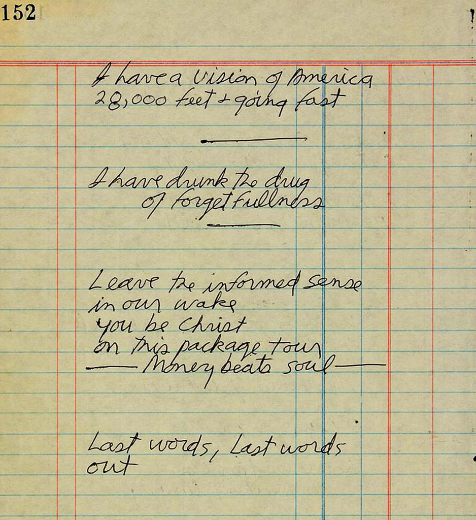 This handwritten poem by Jim Morrison was torn out of a notebook found in his hotel room after his death in 1971. Photo courtesy of Paddle8
