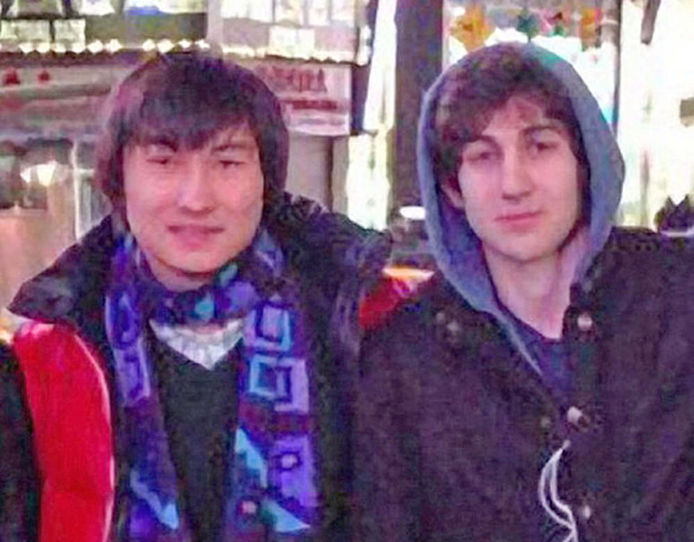 Dias Kadyrbayev, at left. and Dzhokhar Tsarnaev pose in Times Square in a framegrab from Tsarnaev's page on VKontakt, the Russian equivalent of Facebook, in 2013. Tribune News Service