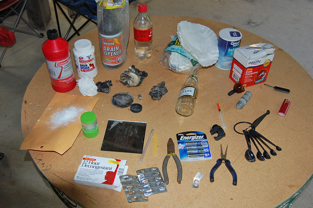 Officers seized these items in the suspects' vehicle that are commonly used in the use and making of methamphetamine, including pseudoephedrine, ammonium nitrate, sodium chloride and lithium. The MDEA Laboratory Team also seized  methamphetamine powder.