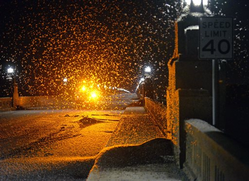 Mayflies swarm the Route 462 bridge over the Susquehanna River late Saturday evening, Blaine Shahan/LNP via AP