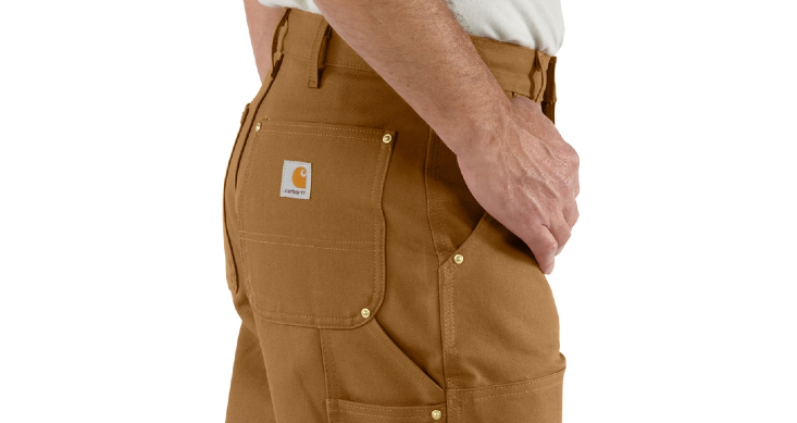 Carhartt is known for its durable clothing, like these work dungarees made of 12-ounce cotton duck and sporting multiple tool and utility pockets, Carhartt website photo