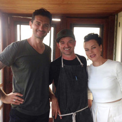 Jason Williams, center, chef at The Well at Jordan's Farm in Cape Elizabeth, with Cooking Channel hosts Debi Mazar, right, and Gabriele Corcos.