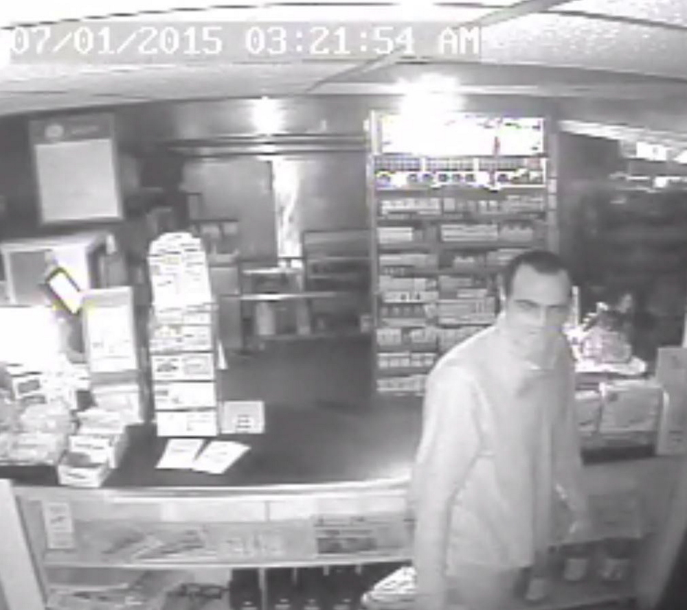 Maine Department of Public Safety Security camera footage from a burglary on Wed. July 1 in which alcohol, cigarettes and chewing tobacco were stolen.