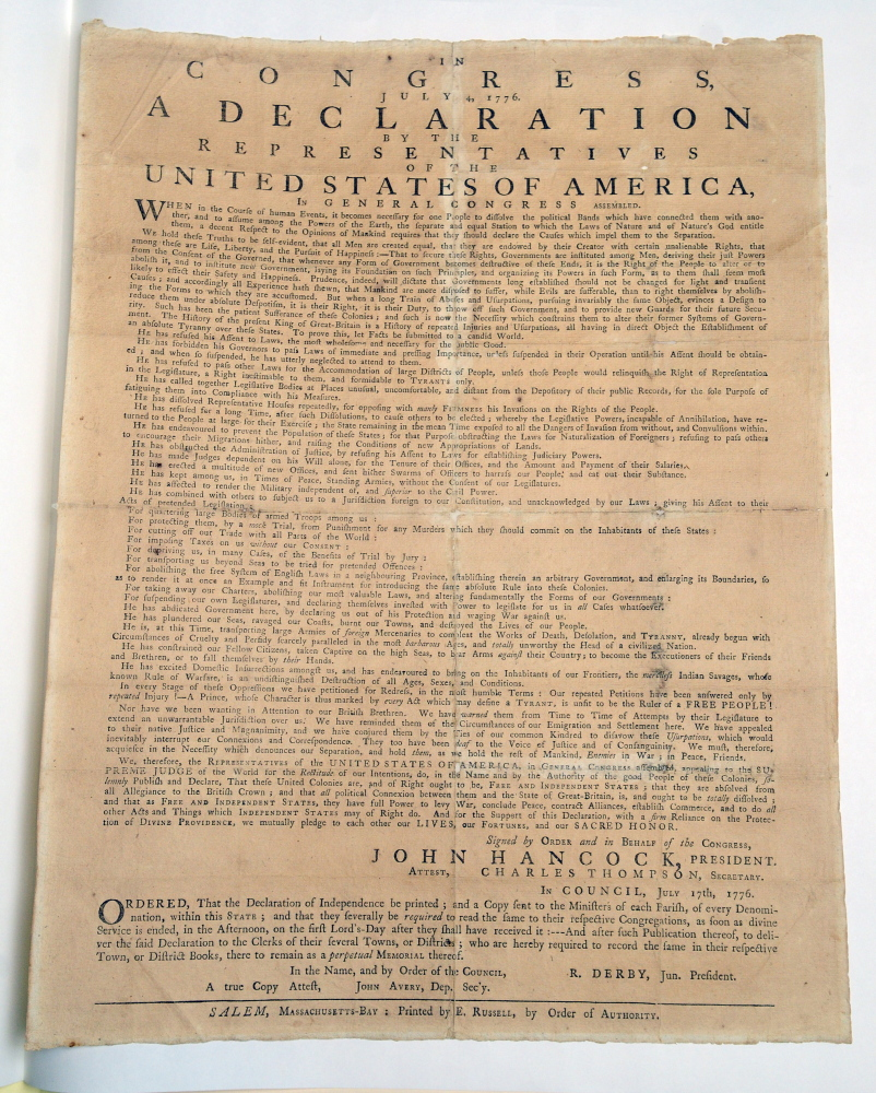 Hallowell's 1776 copy of the Declaration of Independence is seen April 16 in the Maine State Museum in Augusta. The historic document is on display during the Independence Day holiday in Hallowell City Hall.