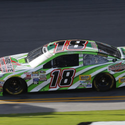 Kyle Busch drives his backup car during a NASCAR Sprint Cup practice session Friday at Daytona International Speedway in Daytona Beach, Fla. Busch was involved in a crash earlier and had to go to his backup car for the second practice session.