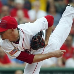 Boston's Clay Buchholz pitches during the first inning against the Houston Astros on Saturday in Boston. Buchholz pitched a complete game, allowing one run on six hits while striking out eight.