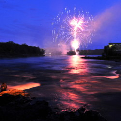 The annual Winslow Family 4th of July fireworks display lights up the sky over the Kennebec River in Winslow on Saturday.