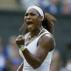 Serena Williams of the United States celebrates after winning a point against Heather Watson of Britain during their singles match at the All England Lawn Tennis Championships in Wimbledon, London, Friday.