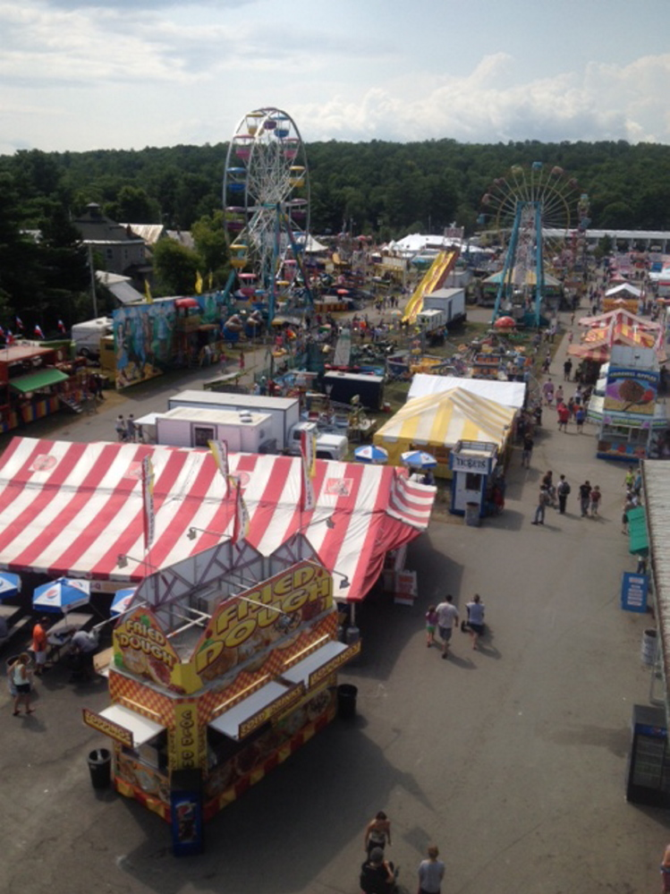 The view of the midway operated by Fiesta Shows during the 2014 annual Skowhegan State Fair.