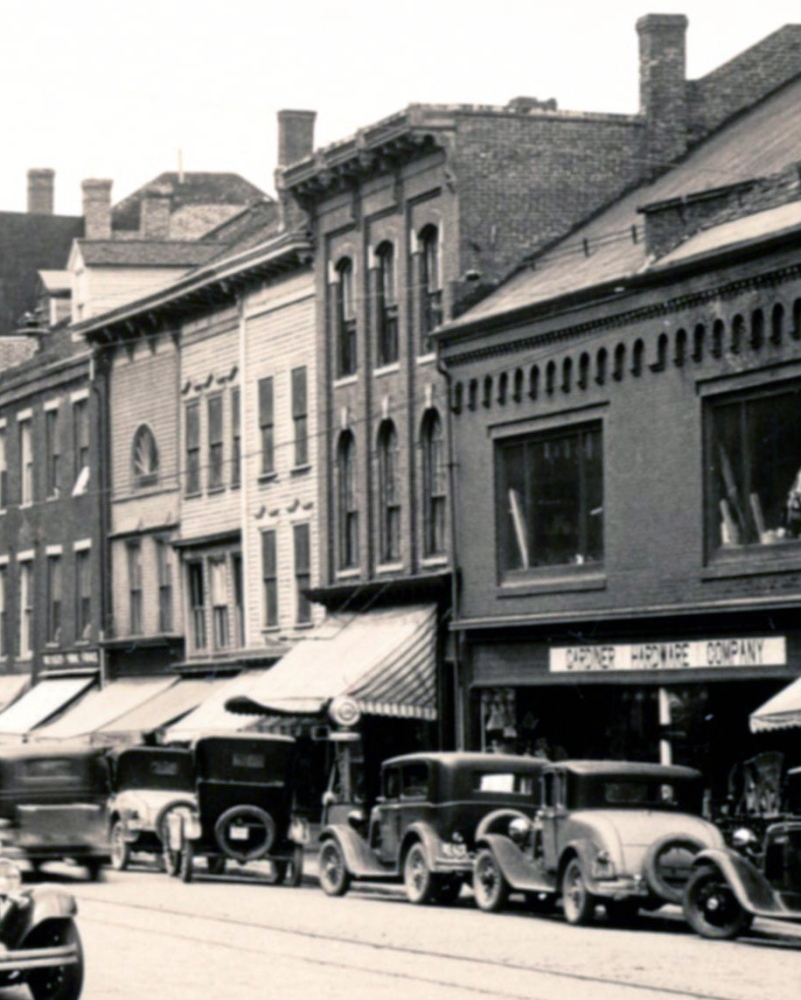 This 1931 file photo of Water Street in Gardiner shows buildings that had been damaged in a recent fire.