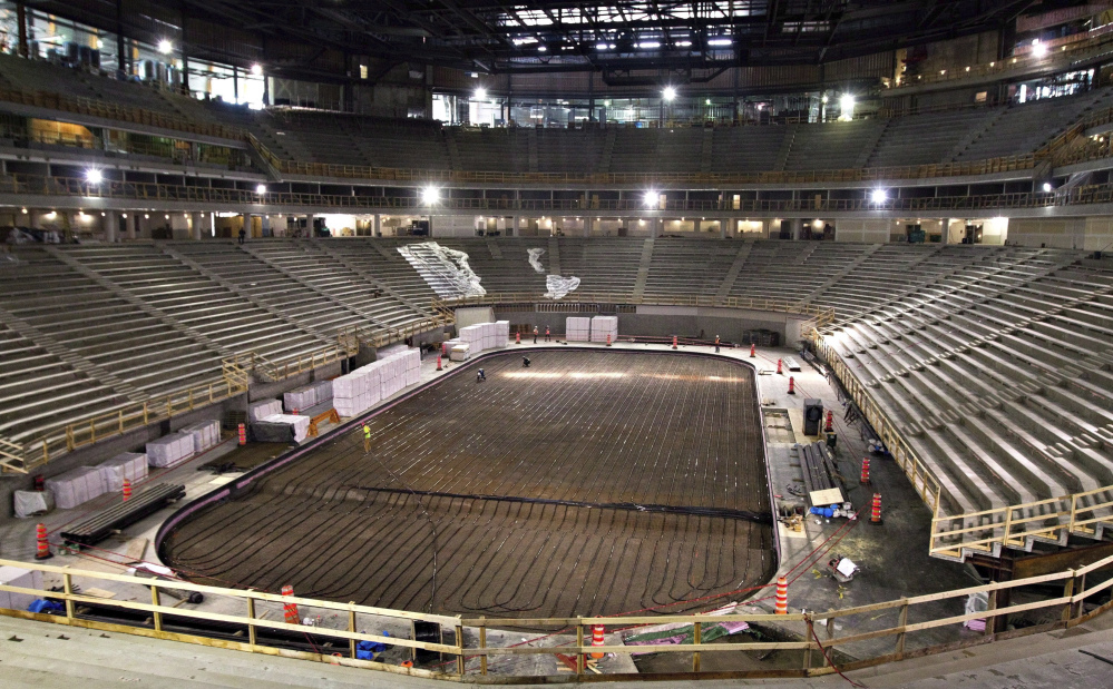 AP photo   In this Sept. 26, 2014, file photo, work continues on the the Videotron Centre in Quebec City. The NHL is one step closer to establishing expansion teams in Las Vegas and Quebec City.