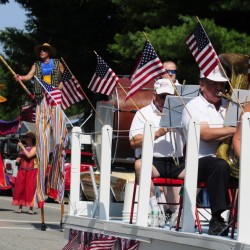 The Shoe String Theater group, left, follows the Hallowell Community Band as the annual Richmond Days parade heads down Main Street toward the Kennebec River in this 2014 file photo.