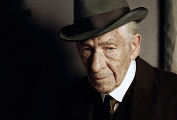"""In this undated photo released by See-Saw Films, British actor Ian McKellen poses for a photograph on the first day of filming for """"Mr. Homes"""", in which he portrays a 93-year-old Sherlock Holmes, London. Filming has begun on """"Mr. Holmes,"""" which imagines the famous sleuth in his old age as a retiree living in seclusion by the sea. The movie, based on Mitch Cullin's novel """"A Slight Trick of the Mind,"""" sees the detective struggling with a failing memory and revisiting one final unresolved mystery. (AP Photo/Agatha A Nitecka, See-Saw Films)"""