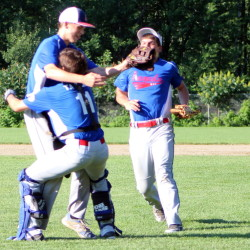 Contributed photo/Wendy Bonsant   Noah Bonsant, left, catcher Cody Taylor, middle, and Hunter Chasse celebrate the final out of the deciding Game 5 of the 15U Babe Ruth state tournament last weekend at St. Dominic.