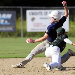 Staff photo by Joe Phelan   Augusta Elks baserunner Connor Perry is tagged out at second base by Pastime second baseman Mike Wong during a Zone 2 playoff game Wednesday on McGuire Field in Augusta. Augusta won 5-3.
