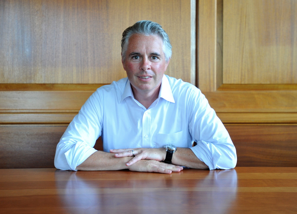Colby College President David Greene in his office at the college on July 1, 2014.